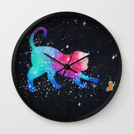 Galaxy Cat Butterfly Wall Clock