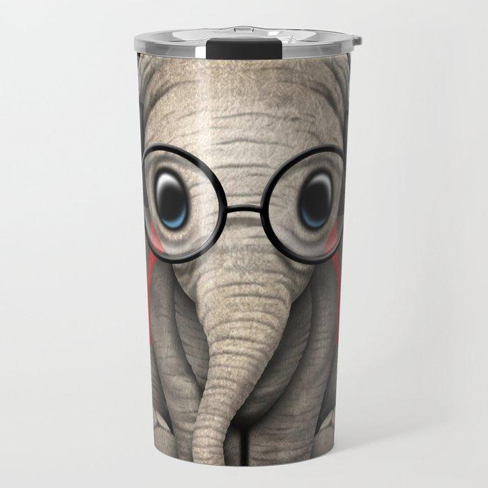 Cute Baby Elephant Dj Wearing Headphones and Glasses on Red Travel Mug
