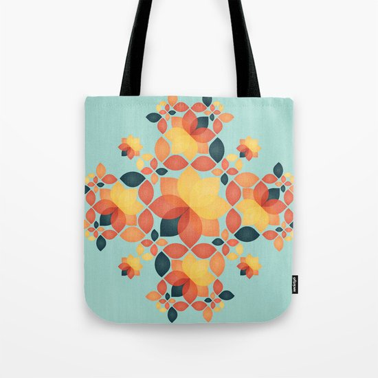 Orange Garden Pattern Tote Bag