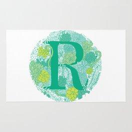 Succulent Greens Letter R Rug