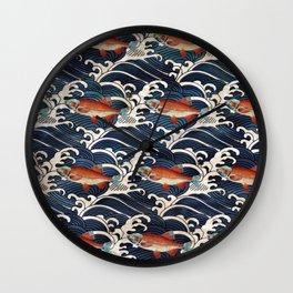 Japanese Redfish and Waves Wall Clock