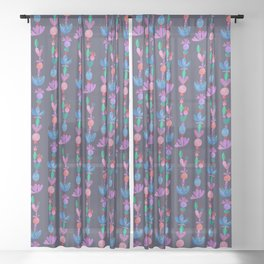 Balance Pattern - Scandinavian Folk Art Sheer Curtain