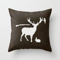 hunter Throw Pillows featuring Hunter by Julia Brnv