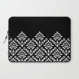 Damask Baroque Part Pattern White on Black Laptop Sleeve