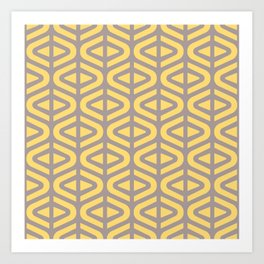 Mid Century Modern Split Triangle Pattern Gray and Yellow 2 Art Print