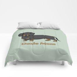 Cute Black Tan Dachshund Dog Doxie Mom Comforters