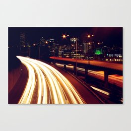 Seattle Traffic at Night Canvas Print