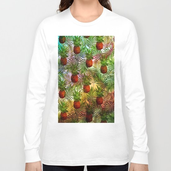 Pineapples - Tropical fruit watercolor illustration pattern Long Sleeve T-shirt