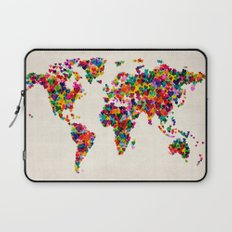 Love Hearts Map of the World Map Laptop Sleeve