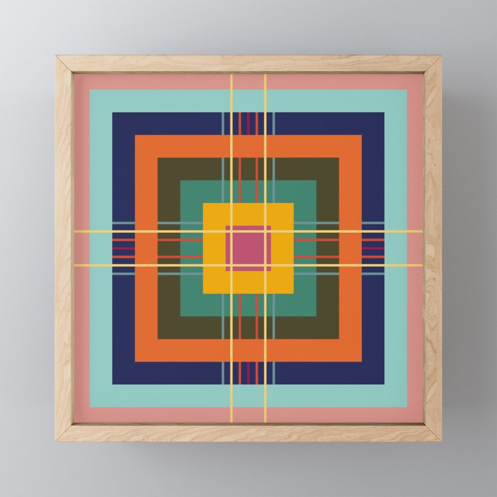 Fine Lines on Retro Colored Squares Framed Mini Art Print