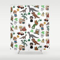 jurassic park Shower Curtains featuring Jurassic Park Bits by Lacey Simpson