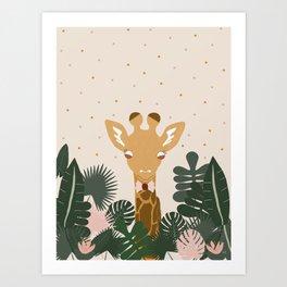 Peeking Giraffe Art Print
