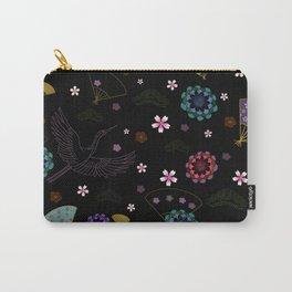 Black Japanese pattern kimono print Carry-All Pouch