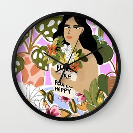 Plants Make People Happy Wall Clock