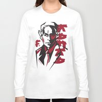 kafka Long Sleeve T-shirts featuring Kafka portrait in Red & Black by aygeartist