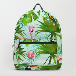 Tropical green pink colorful birds watercolor floral Backpack