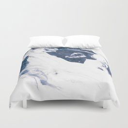 Navy Blue and White Abstract Painting Duvet Cover