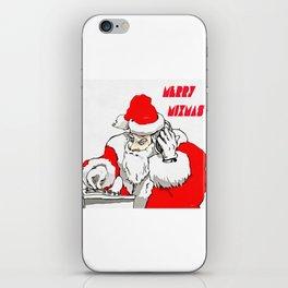 Merry Mixmas Christmas Party Santa DJ iPhone Skin