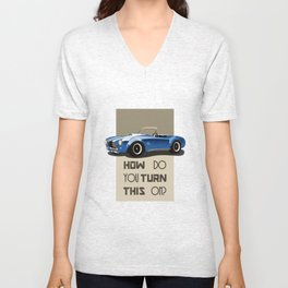 The Classic Game Cheat Code: How do you turn this on Funny Blue Cobra Car Unisex V-Neck