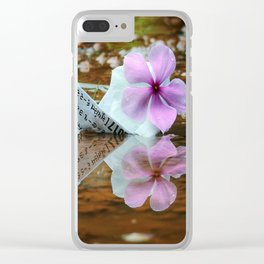 Paperboat in water with periwinkle Clear iPhone Case