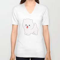 pomeranian V-neck T-shirts featuring White Pomeranian by Pati Designs