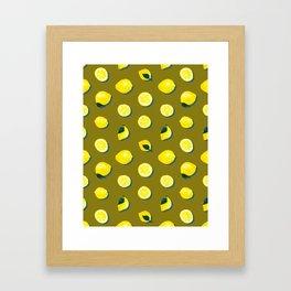 60s Lemon Pattern on Olive Framed Art Print