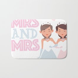 Mrs and Mrs lesbian gay wedding Bath Mat
