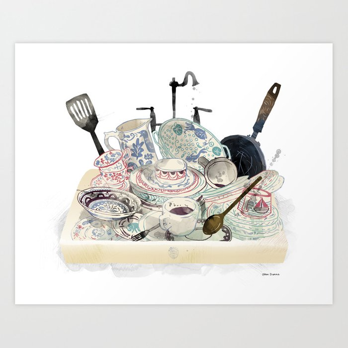 Washing the Dishes Art Print