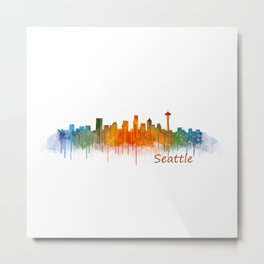 Seattle Washington City Watercolor Skyline Hq v2 Metal Print