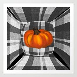 Fall Pumpkin On Gray And White Plaid Bow Design Art Print
