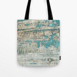 Rustic Wood Turquoise Weathered Paint Wood Grain Tote Bag
