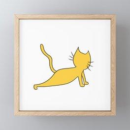 Yellow Cat doing yoga Framed Mini Art Print