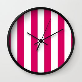 Bright Pink Peacock and White Wide Vertical Cabana Tent Stripe Wall Clock
