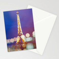 Eiffel tower by night Stationery Cards