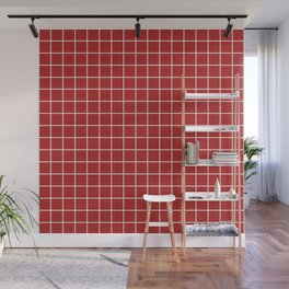 Firebrick - red color -  White Lines Grid Pattern Wall Mural