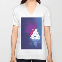 gengar V-neck T-shirts featuring Gengar eating ice cream by Alvaro Núñez