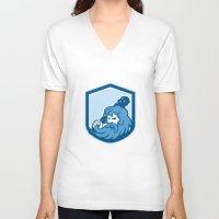 hercules V-neck T-shirts featuring Hercules Wielding Club Shield Retro by patrimonio