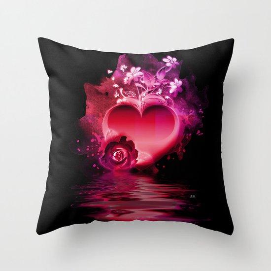 Flooding Heart Throw Pillow