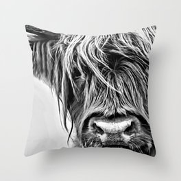 Black and White Highland Cow Throw Pillow