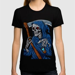 Reaper grim with Hourglass - ghost skull - black and white T-shirt