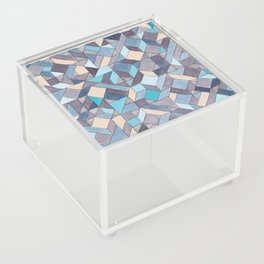 Shifitng Geometric Pattern in Blue Acrylic Box