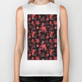 Fishnet red flowers on a black background. Biker Tank
