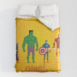 Super Heroes - Pixel Nostalgia Comforters