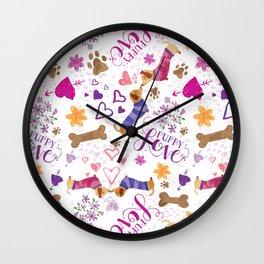 Doxie Puppy Love Pattern Wall Clock