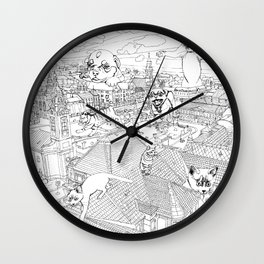Giant cats and dogs take over the city Wall Clock