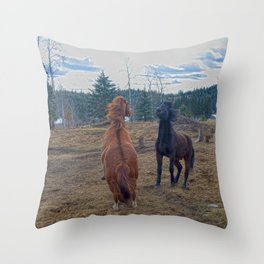 The Challenge - Ranch Horses Fighting Throw Pillow
