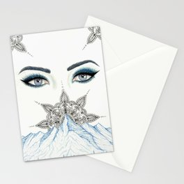 Winter Eyes Mountain Range Mandala Stationery Cards