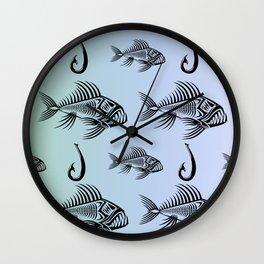 Fish and Hook Wall Clock