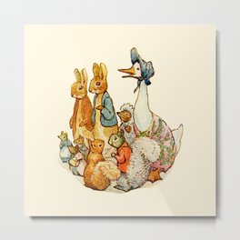 Bedtime Story Animals Metal Print