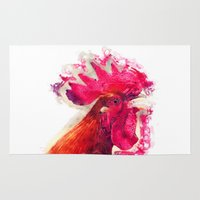 rooster Area & Throw Rugs featuring Rooster by jbjart